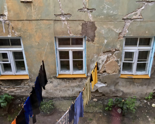 vilnius lithuani old town courtyard laundry